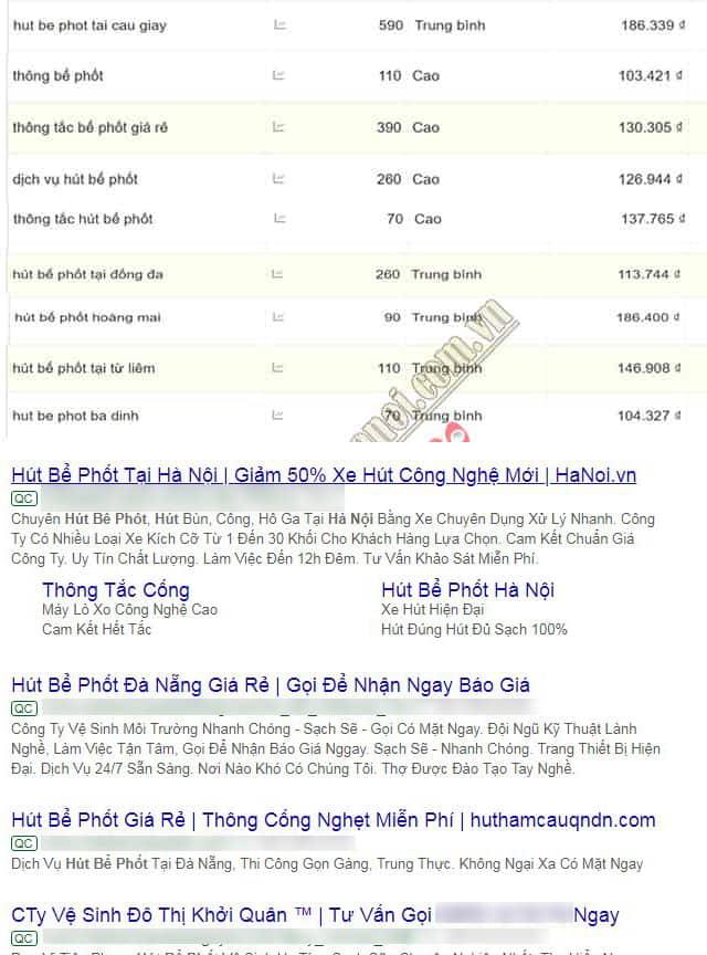 2. Chiêu trò đăng tin quảng cáo google ADS ở đầu kết quả tìm kiếm google.com.vn